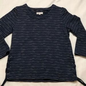 Madewell Striped Lace Up Side 3/4 Sleeve Top